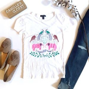 J. Crew Pink Elephants T-Shirt